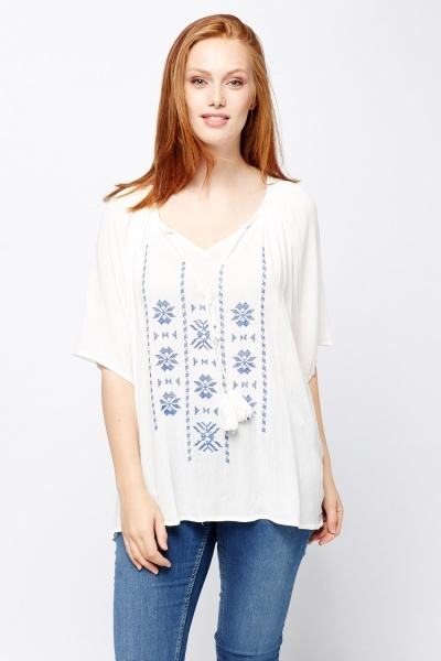 Embroidered Front Crinkled Top