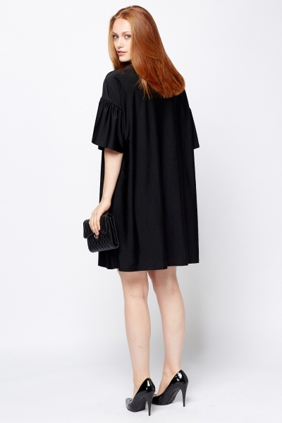 Flare Sleeve Black Slip On Dress