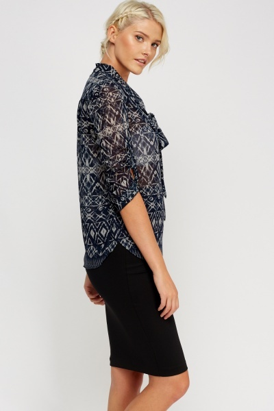 Printed Tie Up Neck Blouse
