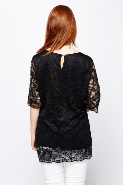Round Neck Lace Overlay Top