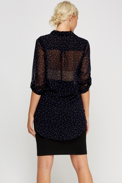 Start Printed Sheer Blouse