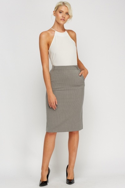 Striped Grey Pencil Skirt