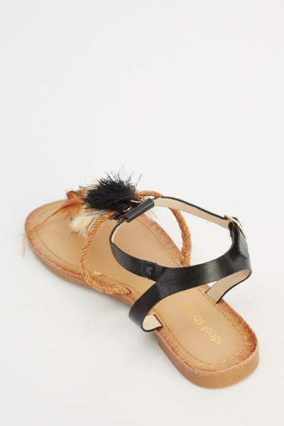 Feather Tasseled Sandals