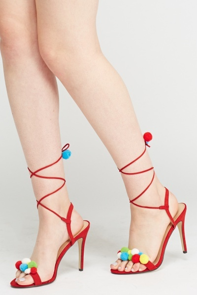 Tie Up Pom Pom Heeled Sandals