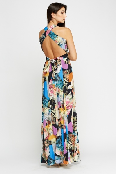 Detailed Back Printed Maxi Dress