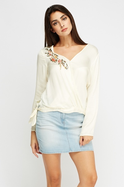 Embroidered Wrapped Top