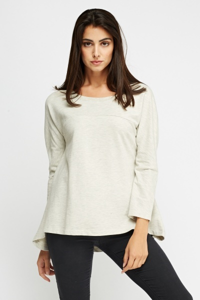 Grey Dip Hem Knitted Top