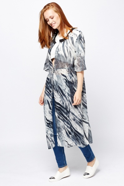 Grey Printed Sheer Cover Up