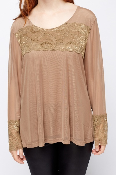 Lace Insert Mesh Top