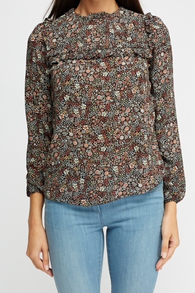Printed Frilled Blouse