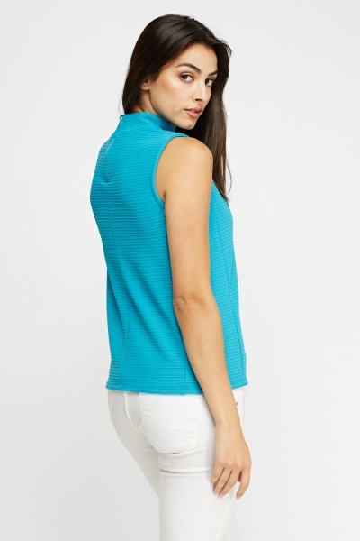 Teal Ribbed High Neck Top