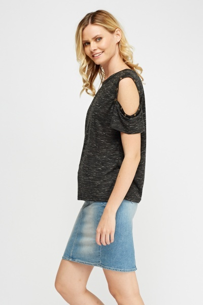 Detailed Cold Shoulder Speckled Top