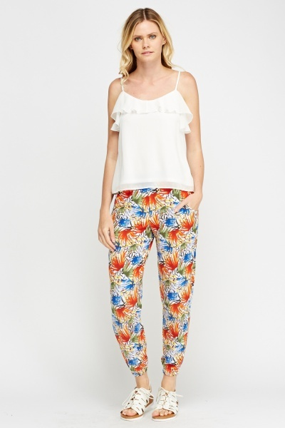 Elasticated Printed Trousers
