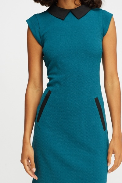 Contrasted Teal Shift Dress