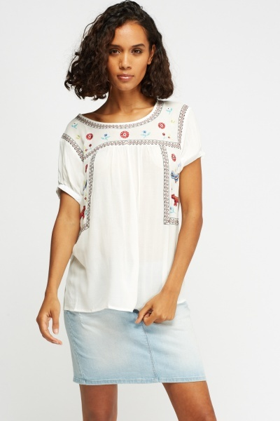 Embroidered Front Casual Top
