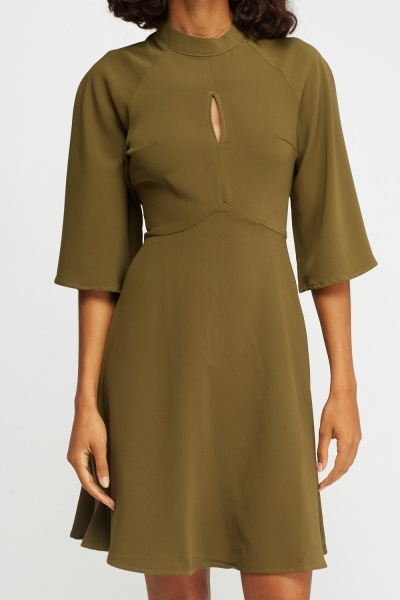 Flare Sleeve Cut Out Front Olive Dress