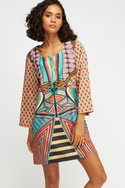 Mixed Print Mini Shift Dress
