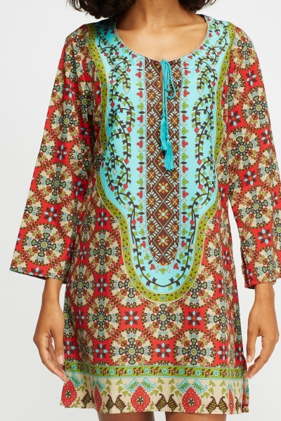 Tie Up Neck Printed Tunic Dress