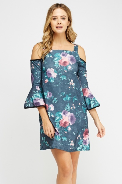 Cut Out Shoulder Flared Printed Dress
