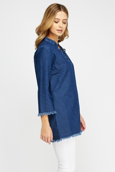 Denim Tie Up Frayed Top