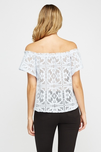 Mesh Overlay Off Shoulder Top