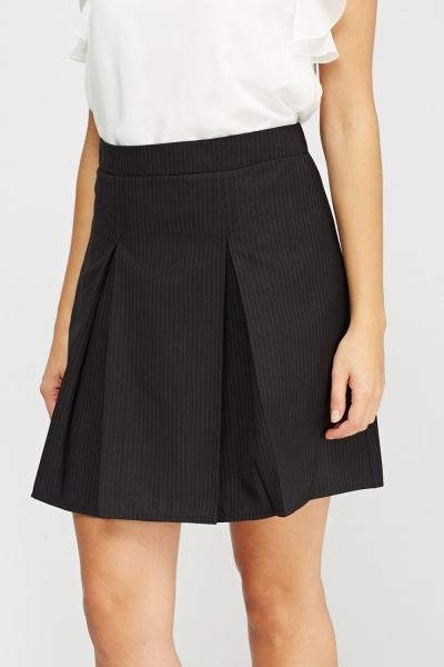 Pinstripe Pleated Skirt