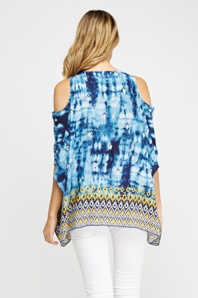 Printed Cold Shoulder Batwing Top