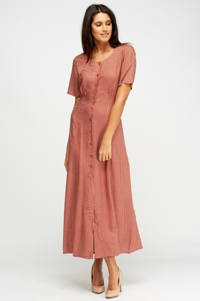 Button Up Paisley Print Maxi Dress