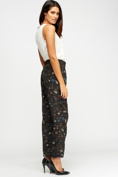 Floral Printed Silky Trousers