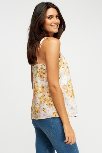 Lace Insert Printed Cami Top
