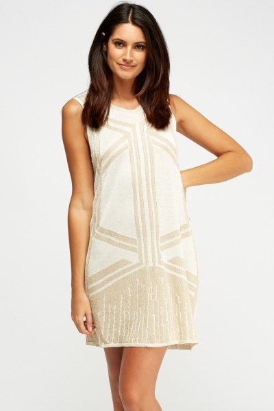 Metallic Insert Sleeveless Dress