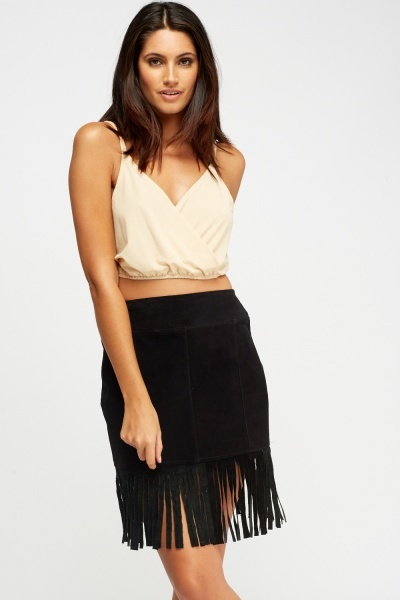 Wrapped Lace Insert Crop Top
