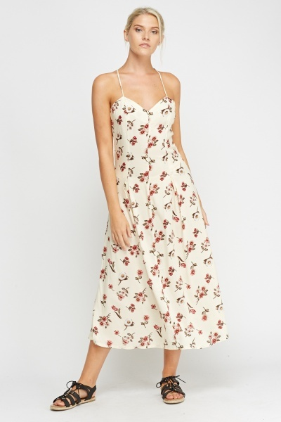 Criss Cross Strap Printed Maxi Dress