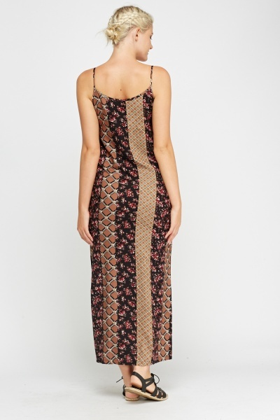 Mix Printed Casual Maxi Dress
