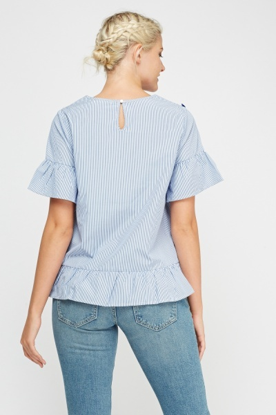 Tassel Embroidered Stripe Top