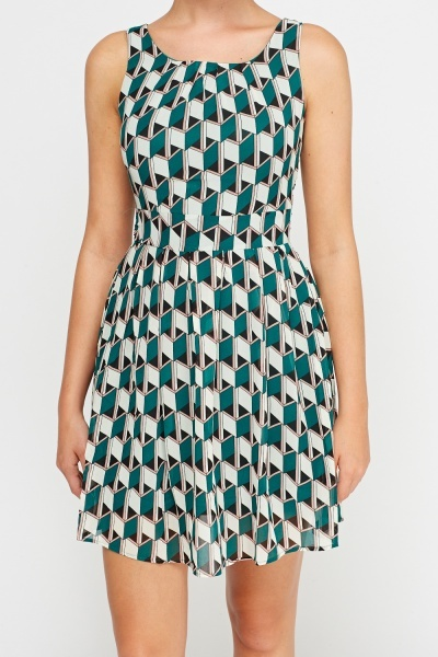 Green Printed Shift Dress