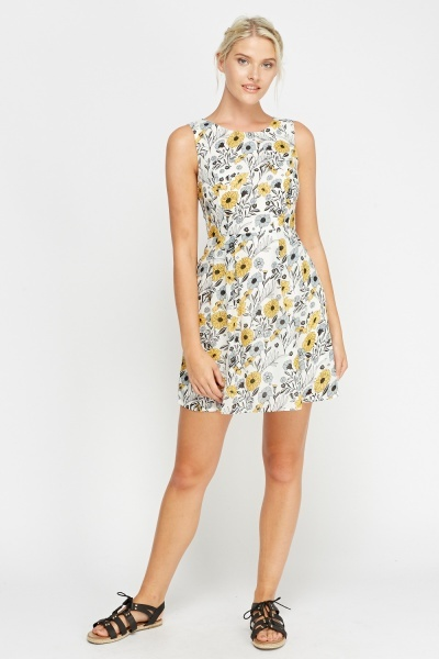 White Printed Floral Shift Dress