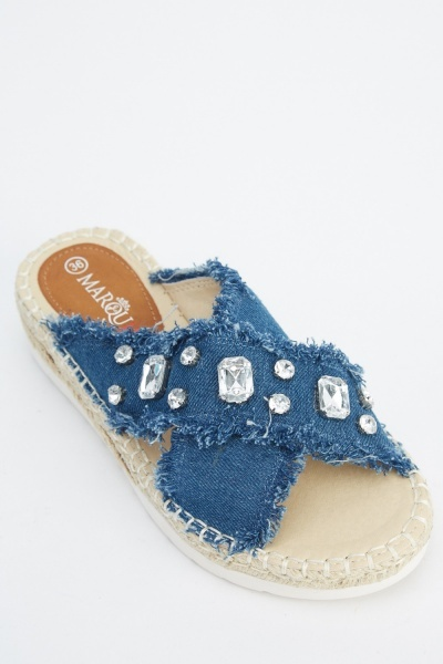 Embellished Denim Frayed Sliders
