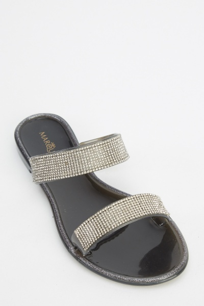 Encrusted Twin Strap Jelly Sliders