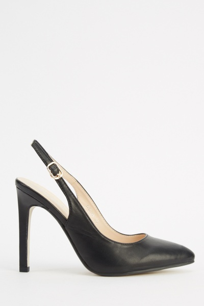 Faux Leather Black Slingback Heels