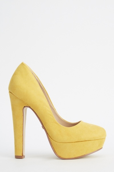 Suedette Block High Heels