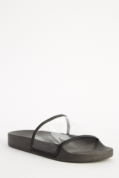 Transparent Front Strap Black Sliders