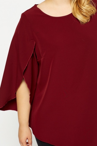 Burgundy Slit Sleeve Top
