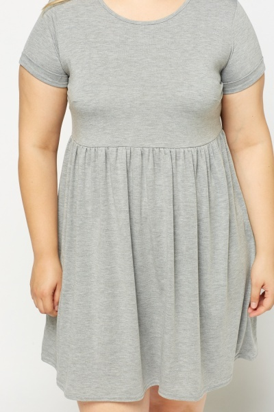 Grey Basic Swing Dress