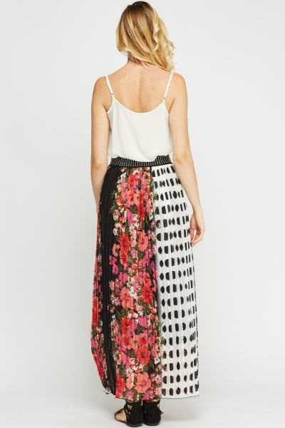 Mix Printed Pleated Maxi Skirt