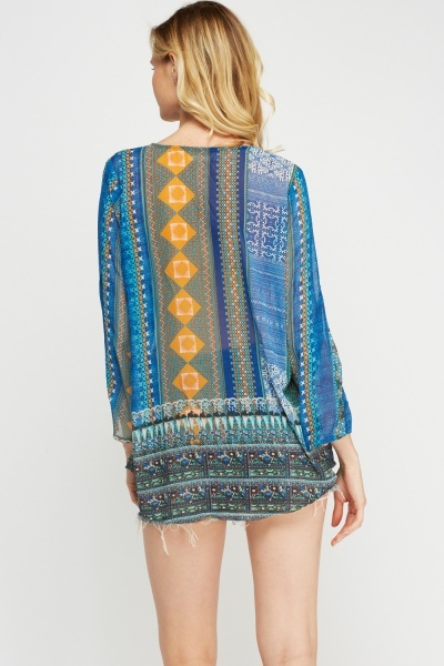 Mixed Print Embellished Tunic