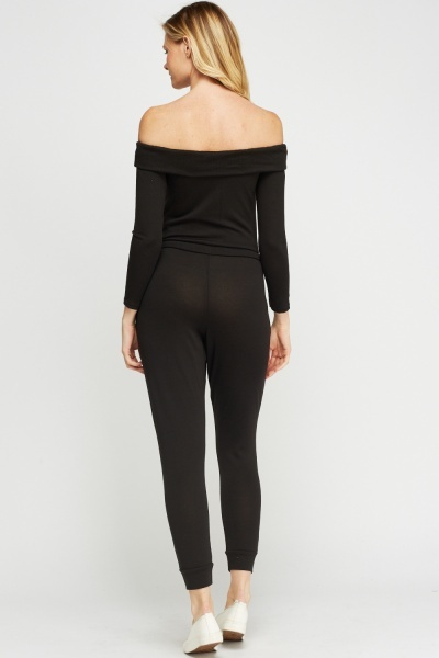 Off Shoulder Black Jumpsuit