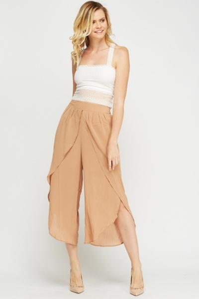 Pleated Wrap Front Culottes