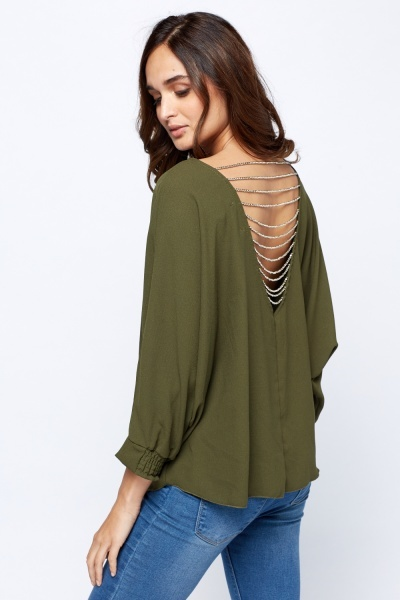 Detailed Back Tie Up Hem Top