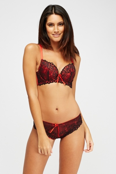 Lace Overlay Push Up Bra And Brazilian Brief Set